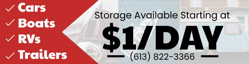 Storage Available Starting at $1.00 per Day Cars Boats RVs Trailers 613 822 3366, RVs storage, boat storage
